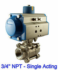 "3/4"" Inch Pneumatic Air Actuated Stainless 3 Pieces Ball Valve Single Acting  NC"