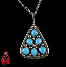 Vintage Navajo blue turquoise teardrop Cluster pendant sterling silver w/chain