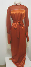 Vintage Rust Satin Chiffon Lace Poet Zip Sleeve Collar Formal Long Dress XL