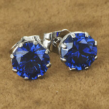 White Gold filled lucky Bule Crystal Womens Stud earrings Punk jewelry lot