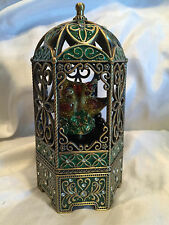 Collectible Ornate Metal Gazebo Music box Rotating Chickens Carousel