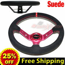 """JDM 350mm 14"""" SUEDE LEATHER DEEP DISH Racing Steering Wheel RED Stitches RED"""