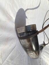 Genuine Ox Horn Viking Drinking Horn with Viking Runes and leather strap