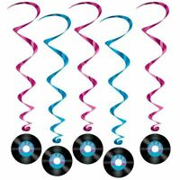 Pack of 5 Rock and Roll Hanging Whirls - 102 cm - 50's Party Ceiling Decoration