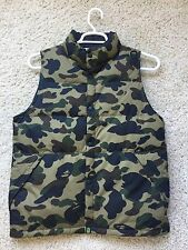 A BATHING APE GREEN CAMO DOWN VEST BAPE SZ MEDIUM box logo shirt cap hoodie