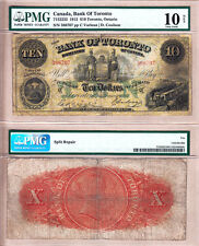 Very Rare (4 Known) 1912 $10 Bank of Toronto (TD Bank) Large Size Note. PMG VG10