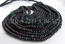 "7"" strand deep black Ethiopian WELO OPAL smooth gem stone rondelle beads 4mm"