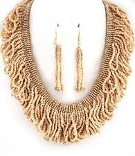 IVORY GLASS SEED BEAD MULTI STRAND HOOP DROPS CHUNKY BIB NECKLACE EARRING