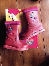 Kids Agatha Ruiz De La Prada Red 100% Leather Boots Eu 22 Uk 5 Bnwb Zip
