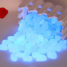 100 pcs  Man-Made Glow in the Dark Pebbles Stone for Garden Walkway Sky Blue