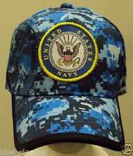 LICENSED U.S. NAVY NAVAL USN BLUE SEA CAMO CAMOUFLAGE INSIGNIA CAP HAT COVER OS