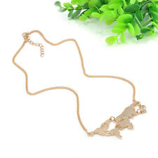 Charmiing World Map Pendant Necklace Charm Collar Travel Abstract Jewelry Chain