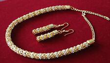 Glittering Gold Necklace Earrings Set Neckset Jewellery