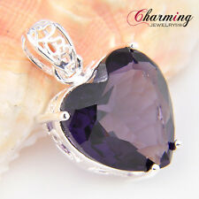 Special Offer Heart Purple Amethyst Gemstone Silver Necklace Pendant 1 3/8""