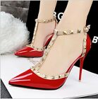 Fashion Rivet Pointed Toe Stilettos High Heels Ankle Strap Womens Shoes Sandals