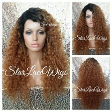 Long Wavy Curly Lace Front Wig Layer Dark Root Deep Wave Heat Safe Ok Brazilian