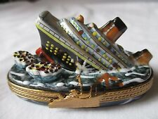 "LIMOGES FRANCE PEINT MAIN ""THE TITANIC SINKING"" PORCELAIN TRINKET BOX - NEW"