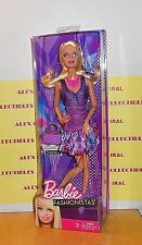 2012 BARBIE DOLL-FASHIONISTAS-BARBIE IN LILAC TOP & ROSES PRINTED SKIRT OUTFIT