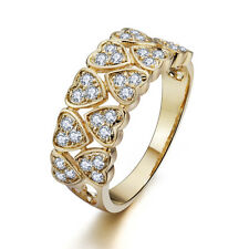 VINTAGE INSPIRED18K ROSE GOLD PLATED GENUINE CLEAR CUBIC ZIRCONIA HEARTS RING