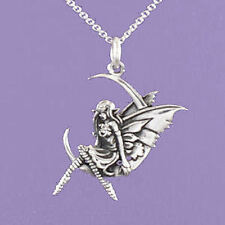 "925 Sterling Silver ""Fairy sitting on a Crescent Moon"" 18""/20"" Pendant  A128"