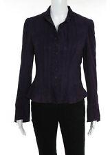 Ralph Lauren Purple Suede Long Sleeve Standing Collar Jacket Size 6 New