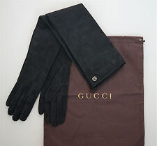 NWOT Authentic GUCCI GG LOGO Black SUEDE Silk Lined Elbow Long Gloves 8