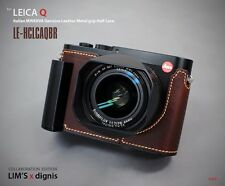 LIM'S Genuine Leather Camera Half Case Metal Grip for Leica Q (Typ 116) Brown