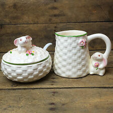 Avon Bunny Sugar & Creamer with basket weave pattern and flower accents