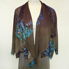 NEW NWT Citron Clothing Plus Size Floral Georgette 100% Silk Cardigan Blouse 2X