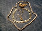 Vintage Jewelry Lot 3 Necklace and Brooch Lot
