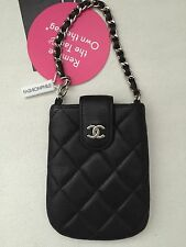 CHANEL Black Quilted Lambskin Leather Wristlet Clutch Pouch Bag