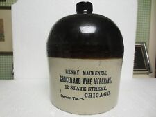 """HENRY MACKENZIE """" GROCER AND WINE MERCHANT 12 STATE ST CHICAGO ADVERTISING JUG"""