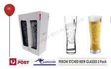 Peroni Nostro Beer Etched Logo and Red Tag Glasses 2 pack BWOB no box Italy