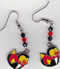 Halloween Earrings -Vampire Dracula Rubber Ducks beaded with Swarovski Beads