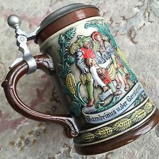 Vintage Collectable 1960s Original Old West German Lidded Gerzit Beer Stein