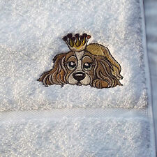 Cavalier King Charles Spaniel Dog Embroidered Hand Towel, Dog Towel, Dog Gift