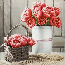 4 Single Table Lunch Party Paper Napkins for Decoupage Decopatch Craft Peony