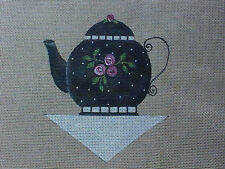 Needlepoint Hand Stitch Painted Canvas Sandy Jenkins Tea Pot 18 Count Brown