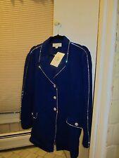 NWT St John evening jacket lapis blue crystals 14 L XL