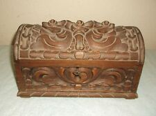RARE MINT VINTAGE HAND CARVED RECTANGULAR SOLID WOOD TRUNK CHEST BOX WITH KEY