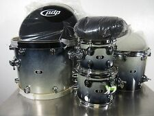 PDP Pacific Drum 4 Piece Shell Pack Silver To Black Sparkle Fade 22/16/12/10