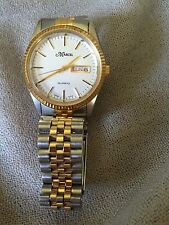 VINTAGE MENS MARCEL QUARTZ WATCH GOLD/SILVER TONES WITH DATE - WORKING