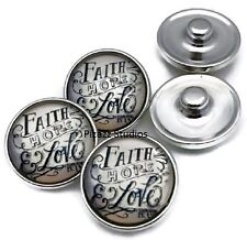 18mm Faith Hope Love Silver Snap Charm Button Interchangeable Jewelry 5-8