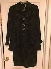 NWOT BLACK FLORAL TAPESTRY SKIRT SUIT CUSTOMIZED W SILVER ROSE BUTTONS 14-16