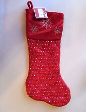 Red With Silver Holographic Sequin Snowflake Lined Christmas Stocking Decoration