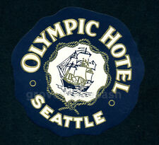 Rare Vintage 1950s Olympic Hotel Seattle Washington Luggage Decal Sticker Label
