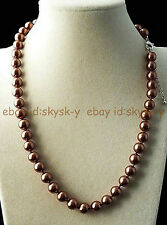 """BEAUTIFUL AAA++ COFFEE 8MM AKOYA BROWN SHELL PEARL ROUND BEADS NECKLACES 18"""""""