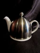 GLAZED WHITE CERAMIC TEAPOT w/LID and STAINLESS STEEL PADDED COZY - Knob Finial