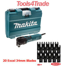 Makita TM3010CK Oscillating Multi-Tool Quick Change + 20 Excel 34mm Blades 240V