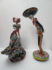 "DANCING CHARRO COUPLE catrina ethnic mexican folk art day of the dead 18"" tall"